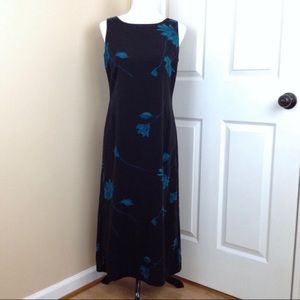 Studio 1 sleeveless maxi dress with teal accents